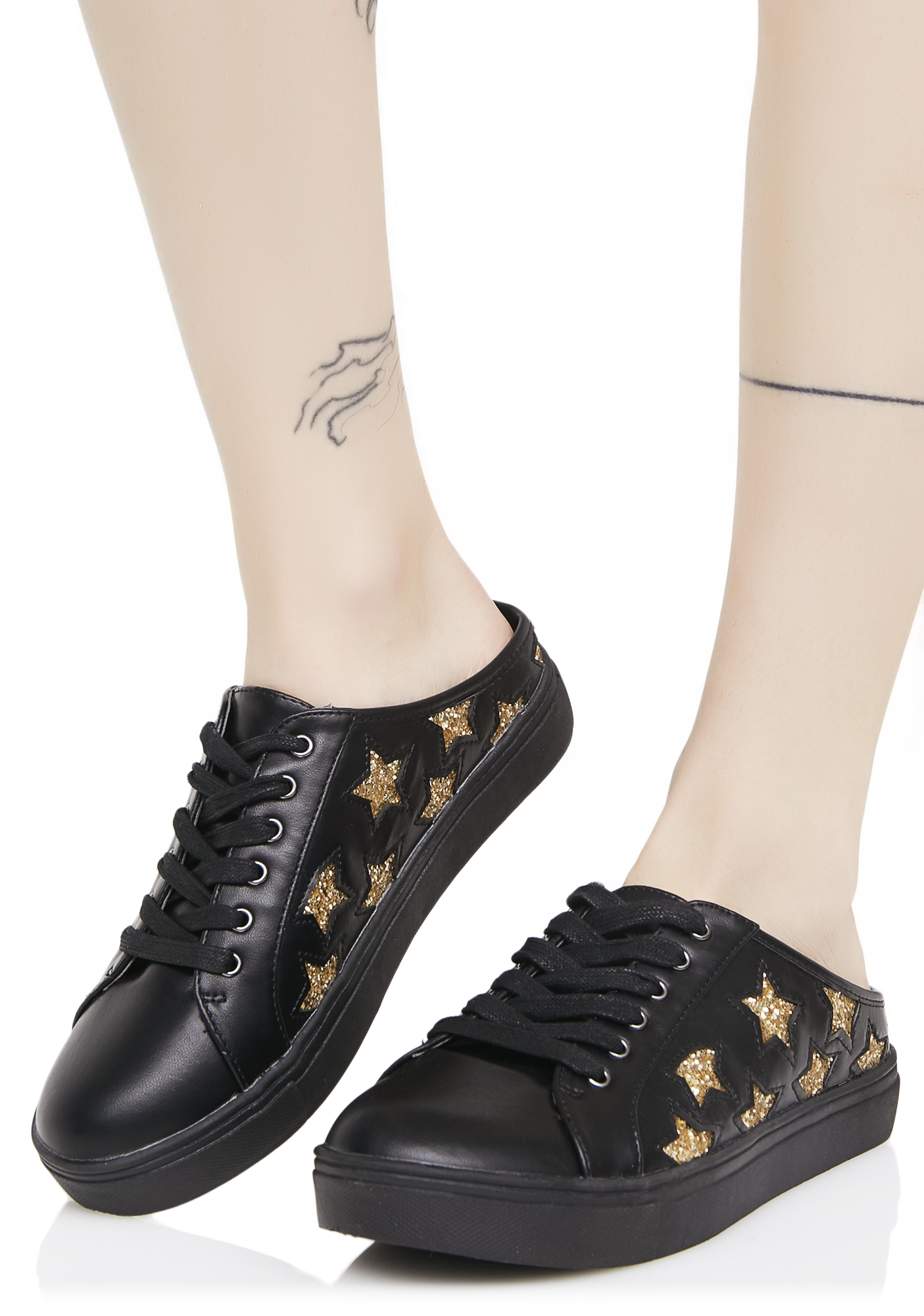 Black Star Slip-On Sneakers