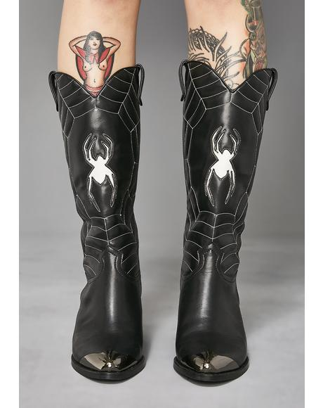 Wicked Ways Spider Web Boots