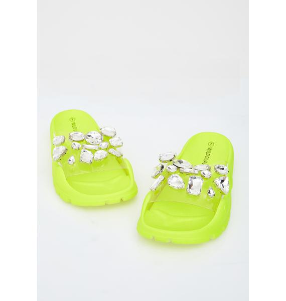 Lemon Candy Glamour Jeweled Slides