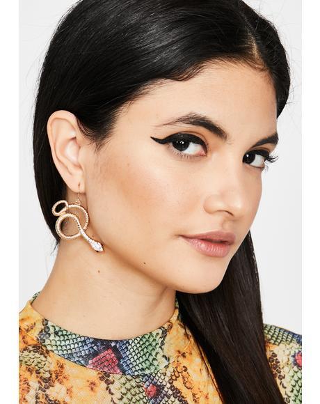Gilded Hisses N' Kisses Drop Earrings