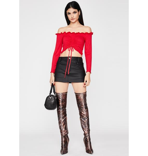 Flame One Two Three Ruched Top