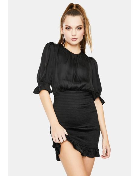 Silky Ruched Mini Dress