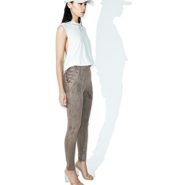 Hip Check Faux Suede Pants