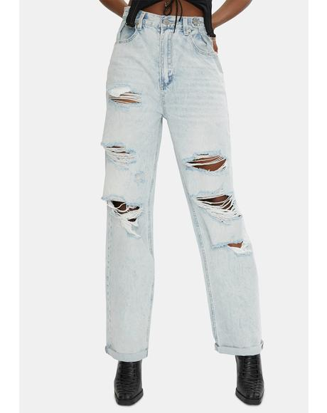 Stone Raider Super Trash Hi And Loose Distressed Denim Jeans