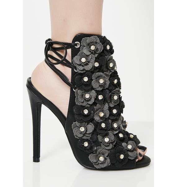 Dark Classic Gal Floral Heels