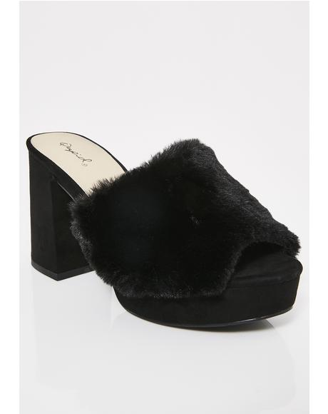 Dark Davenport Fuzzy Heeled Slides