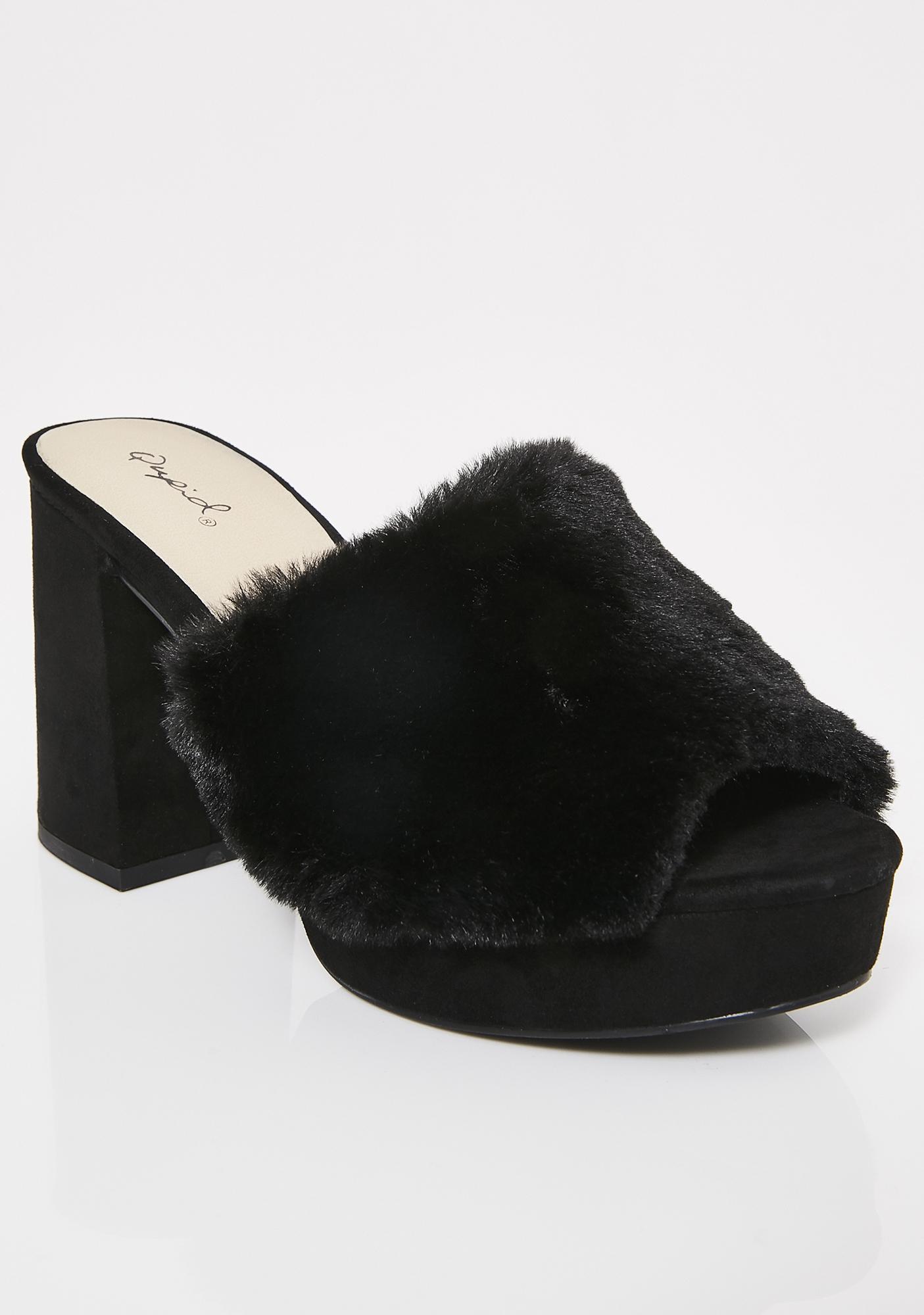 Dark Davenport Fuzzy Heeled Slides