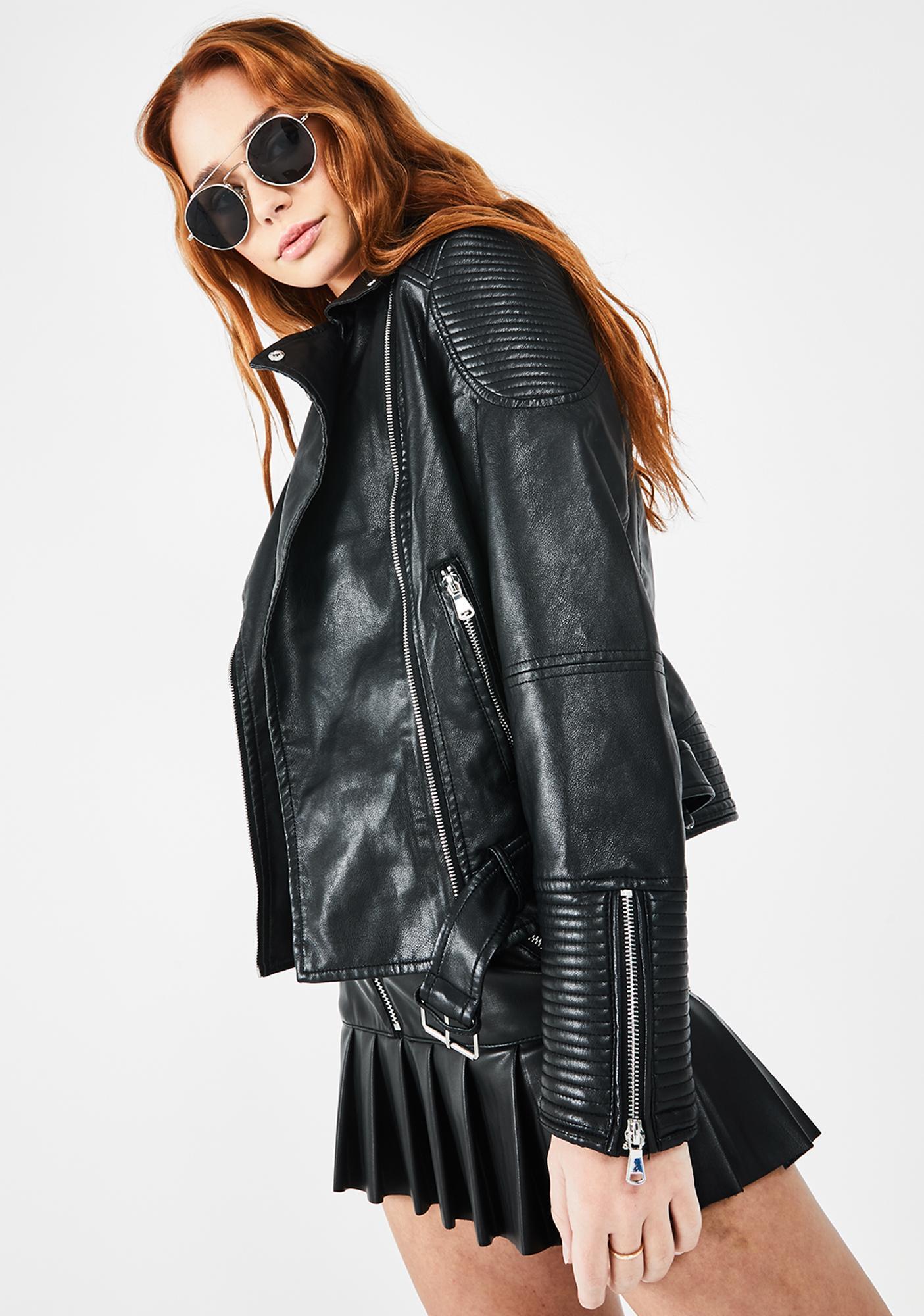 Glamorous Vegan Leather Moto Jacket