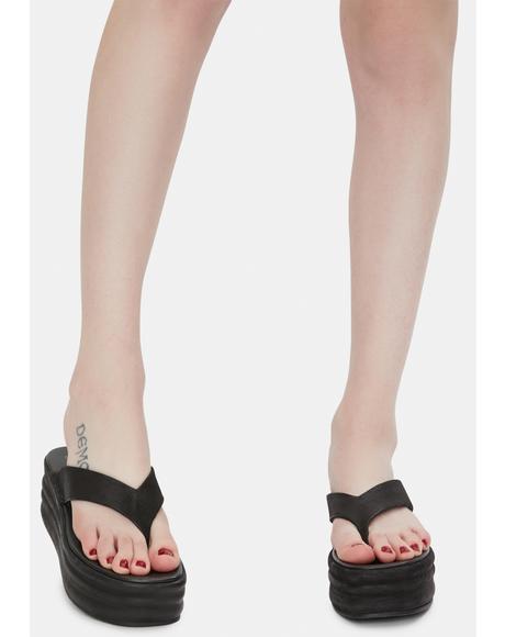 Dark Haven Thong Flatform Sandals