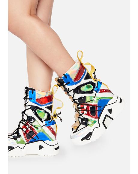 White Holographic Game Changer Ankle Boots