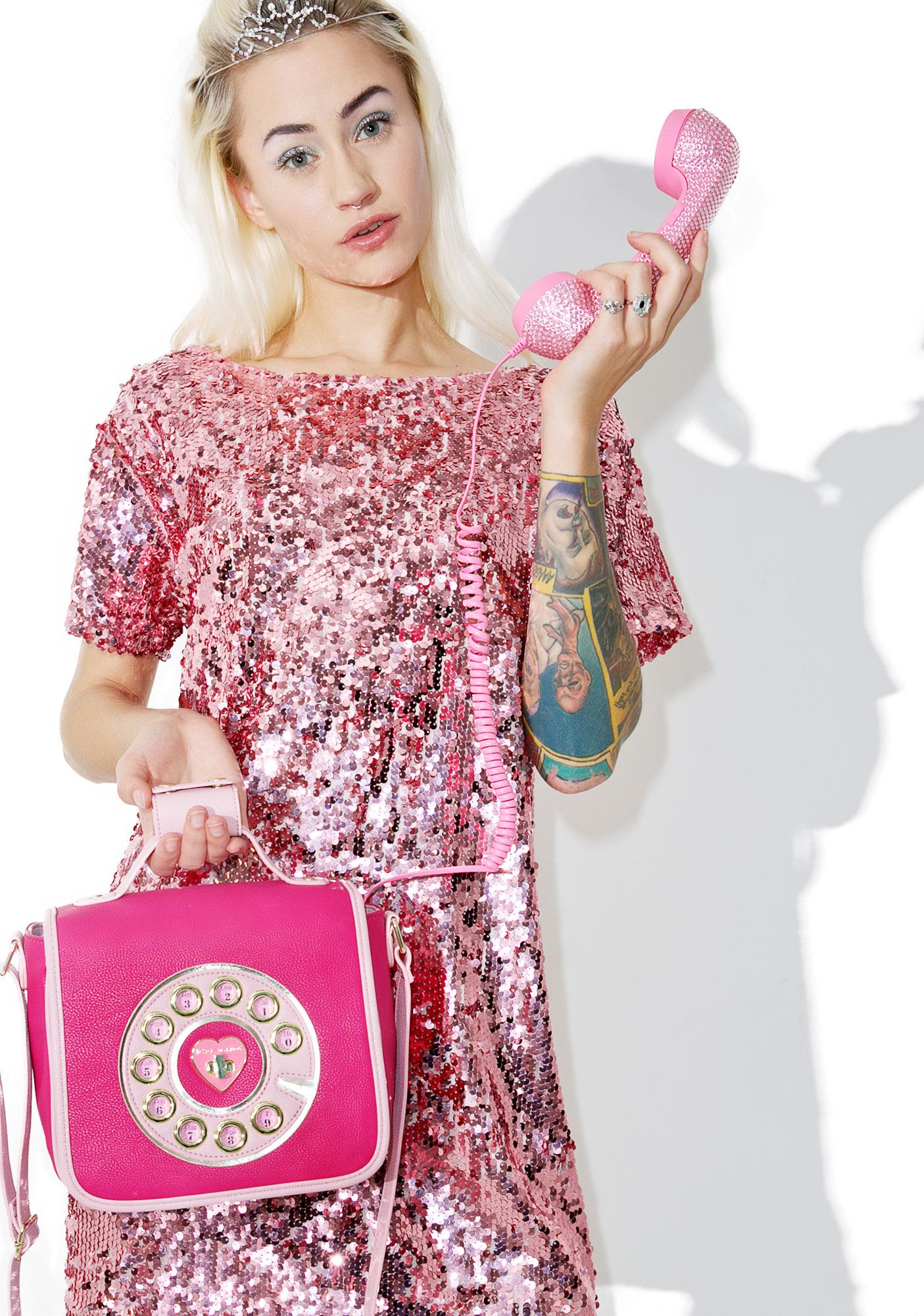 Betsey Johnson Pouty Hotline Crossbody Bag