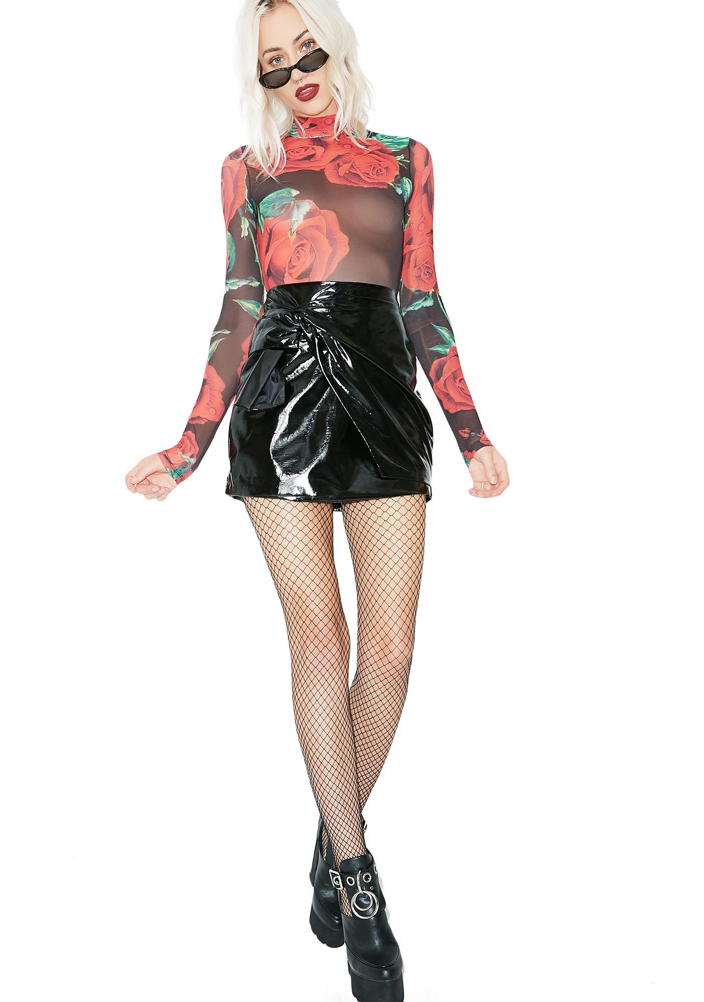 Feel Alive Patent Wrap Skirt