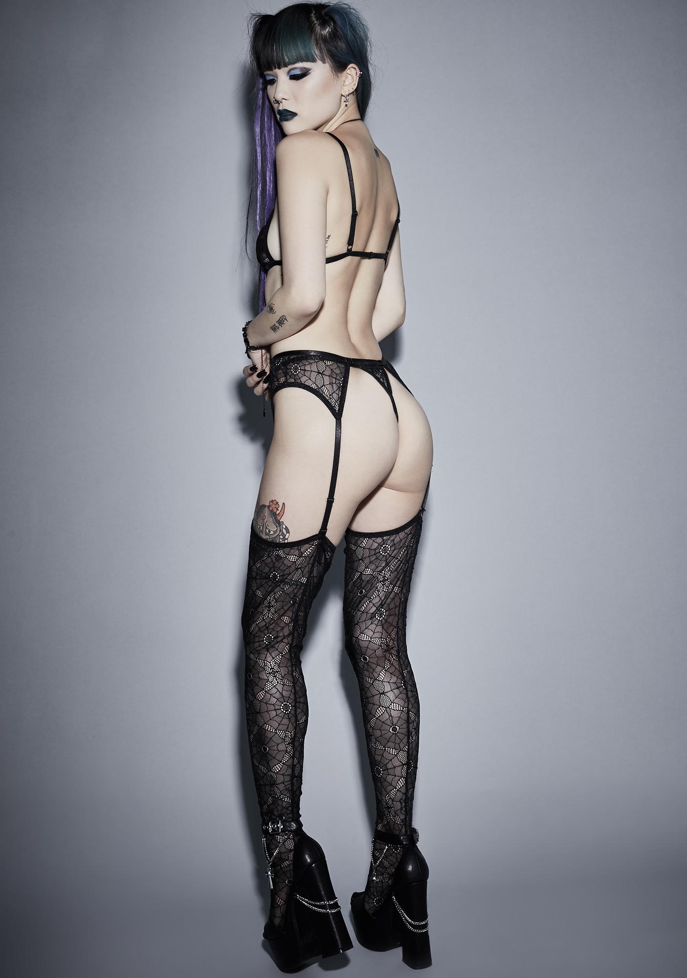 Widow Night Crawler Lace Garter Set