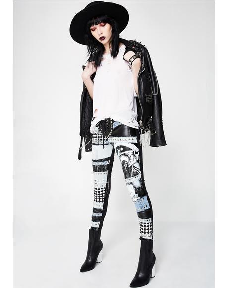 Motorhead Denim And Leather Trousers