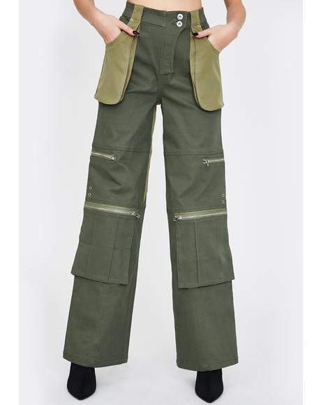 Khaki Blaze Cargo Pants