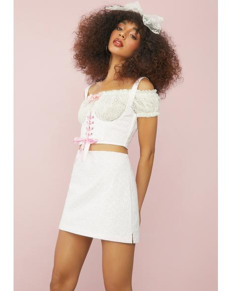 I'll Be Ur Juliet Eyelet Mini Skirt