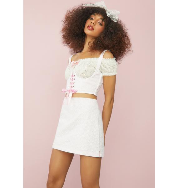 Sugar Thrillz I'll Be Ur Juliet Eyelet Mini Skirt