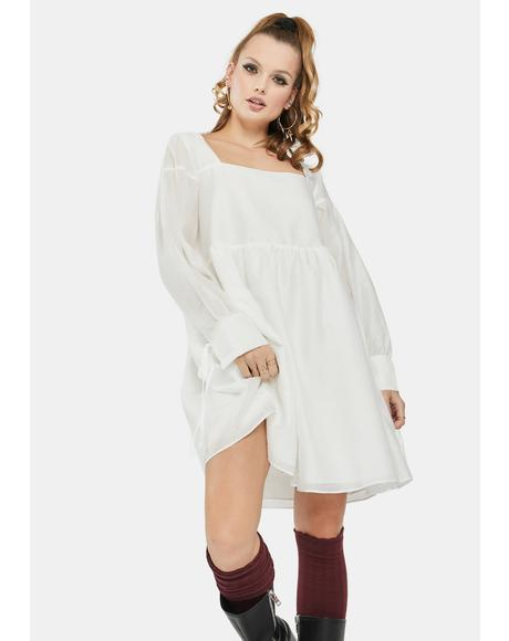 White Square Neck Babydoll Dress