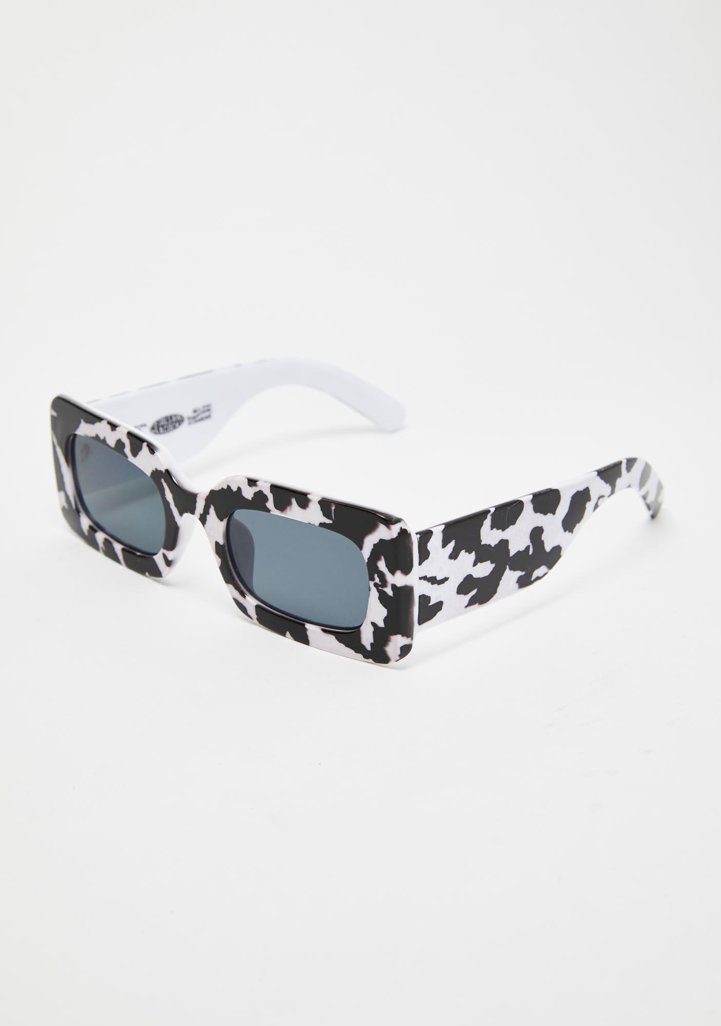 Petals and Peacocks Cow Print Rhubic Sunglasses
