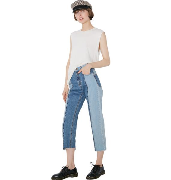 EVIDNT Two Tone Boot Cut Jeans