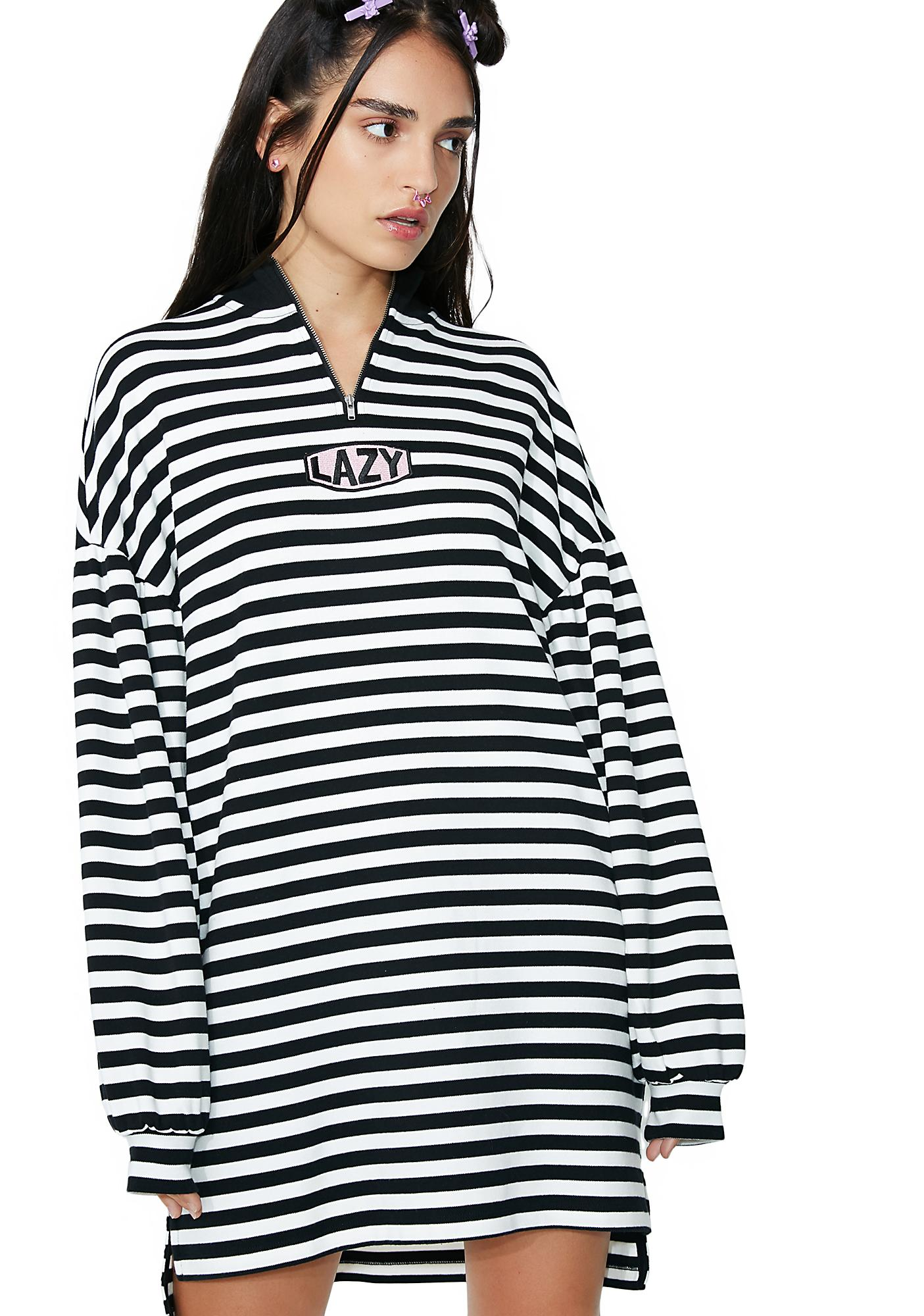 Lazy Oaf Zip Up Stripey Sweatshirt