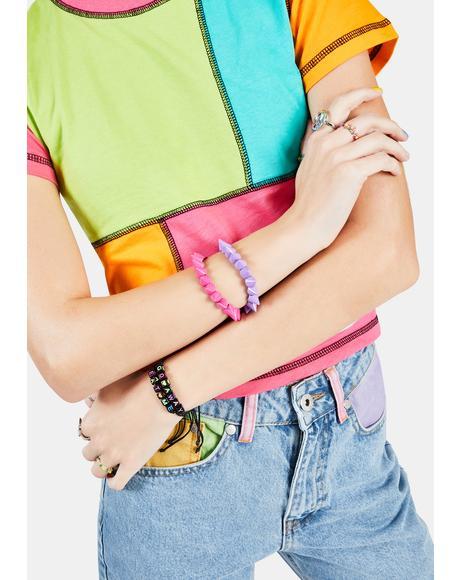 Tough But Cute Pastel Spike Bracelets