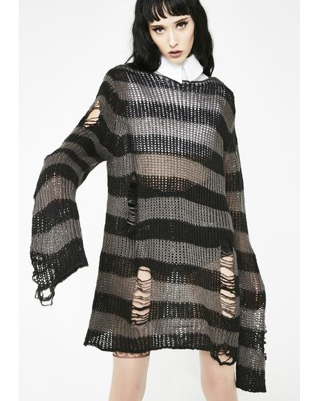 Ash Distressed Knit Sweater