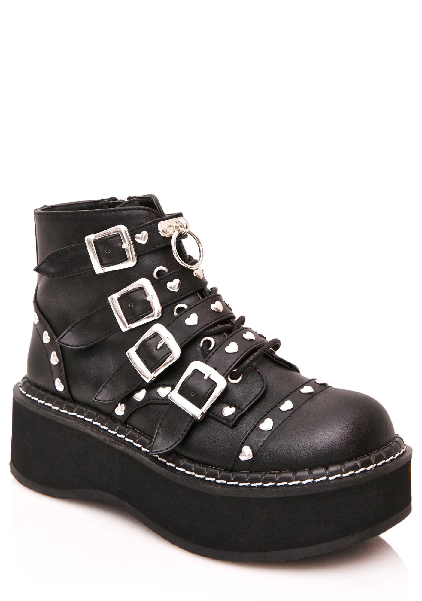 Demonia Emily Buckled Platform Boots
