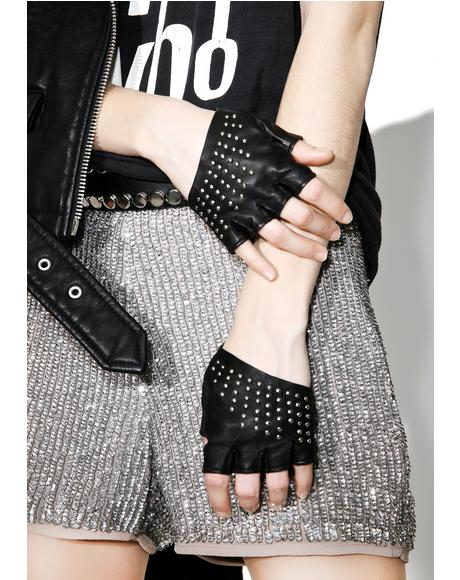 Studded Half Gloves