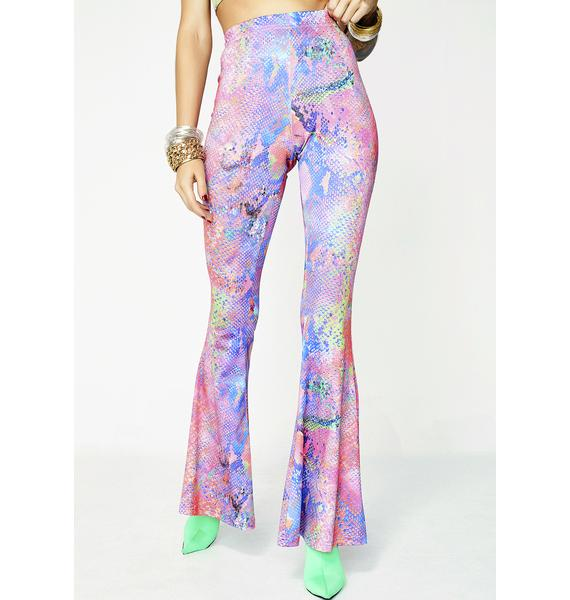 Jaded London Snake Print Jersey Flares