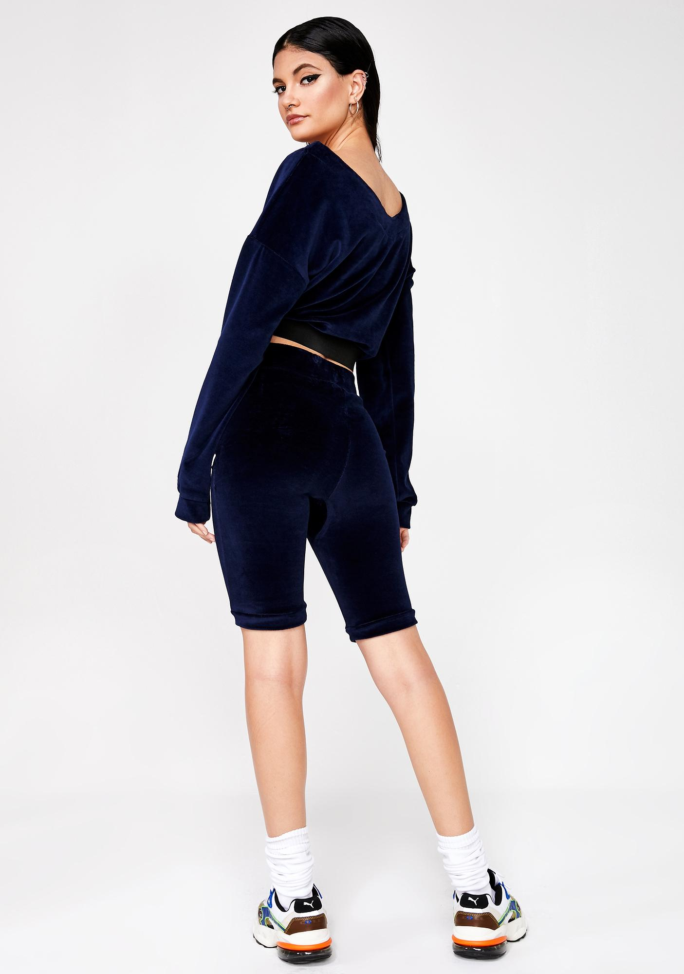 Criminal Damage Velour Structured Shorts