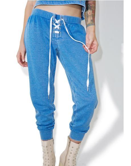 Blue Lattice Sweats