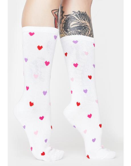 White Delicate Hearts Bamboo Crew Socks