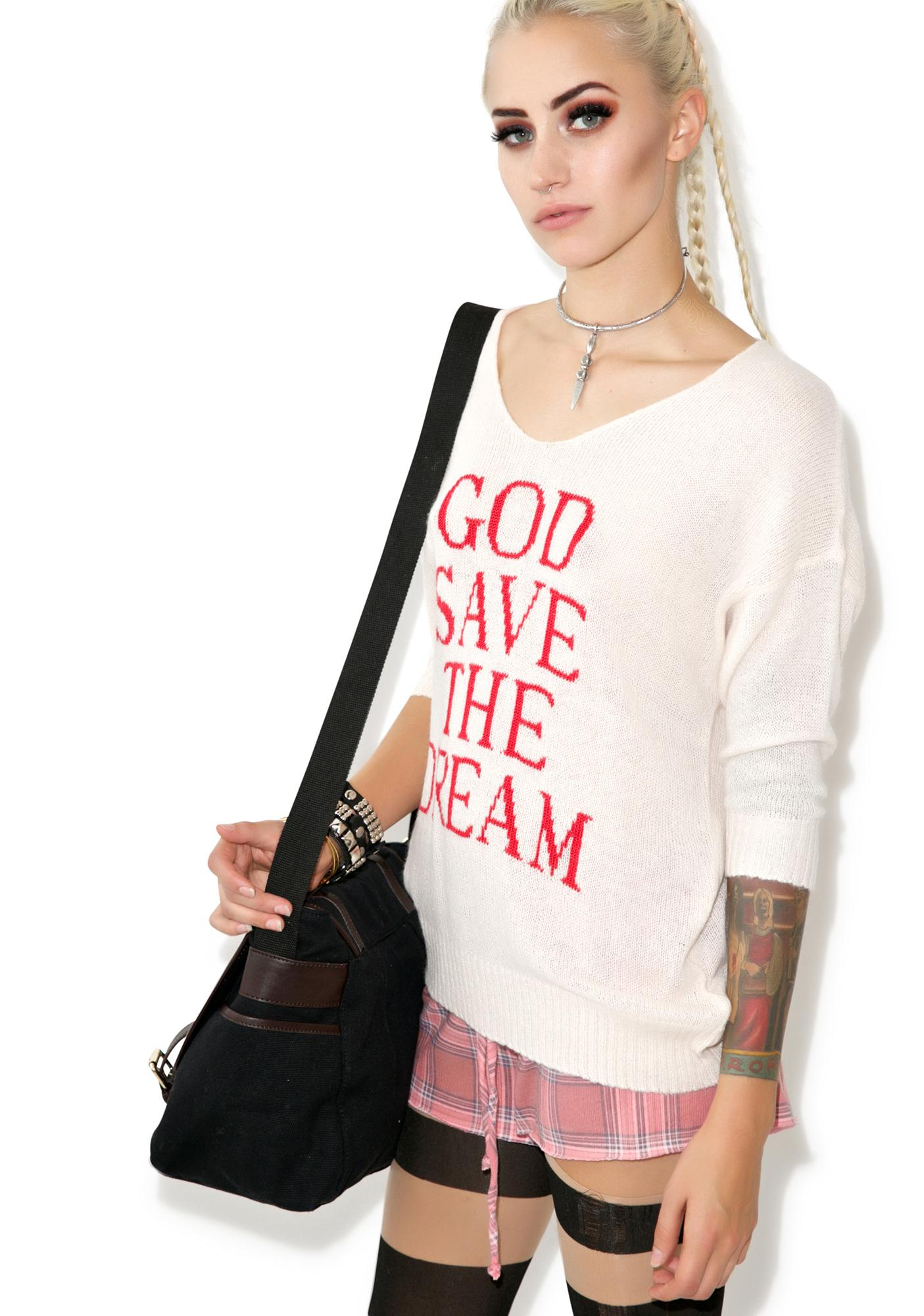 Wildfox Couture God Save the Dream V-Neck Sweater