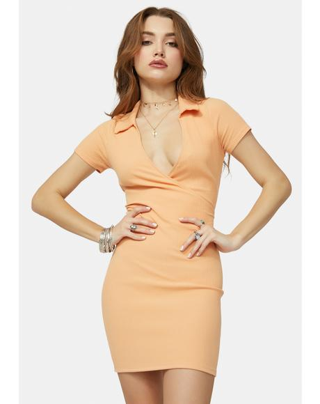 Tangerine Play The Radio Collared Mini Dress