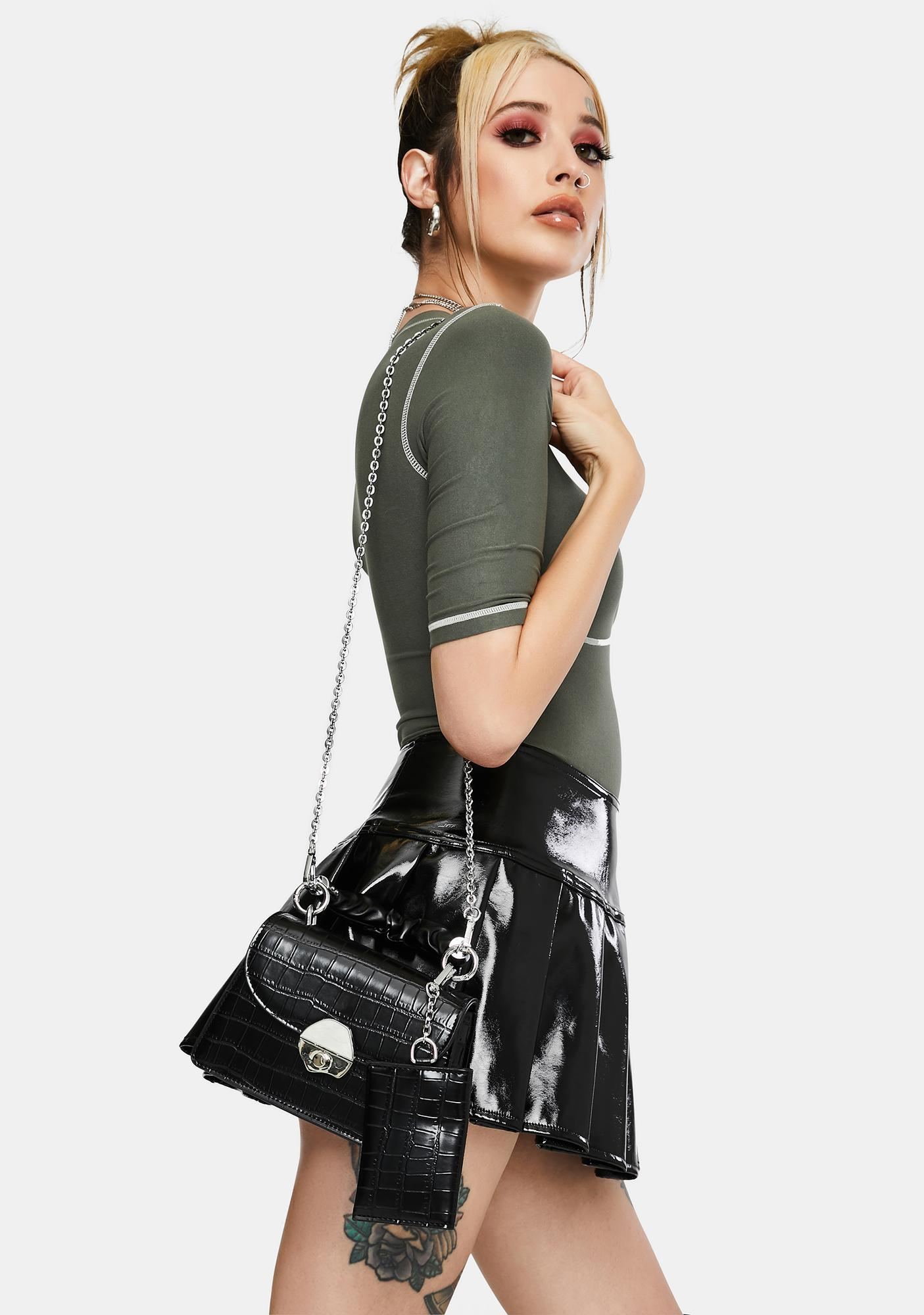 Raven Front Row Royalty Faux Crocodile Bag