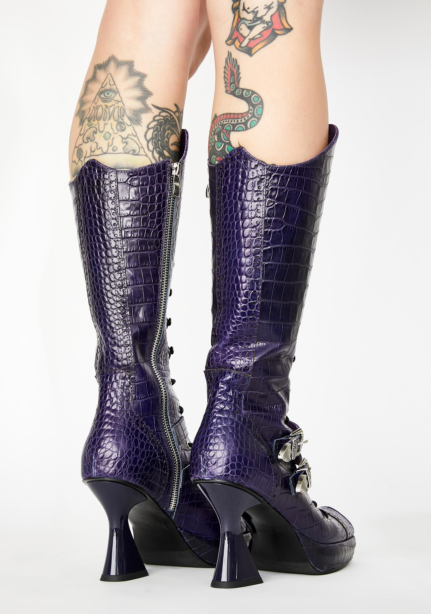 No Dress Crocodile Lace Up Leather Boots