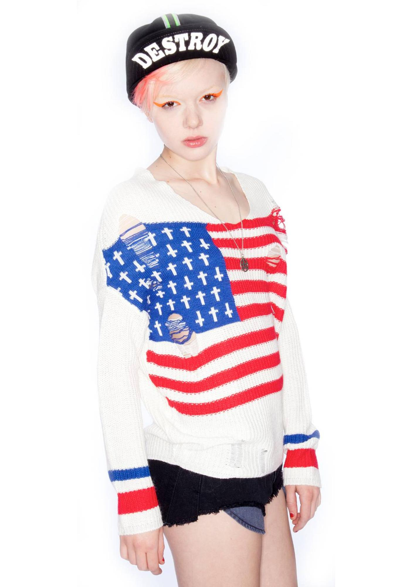 UNIF Flag Religion Sweater