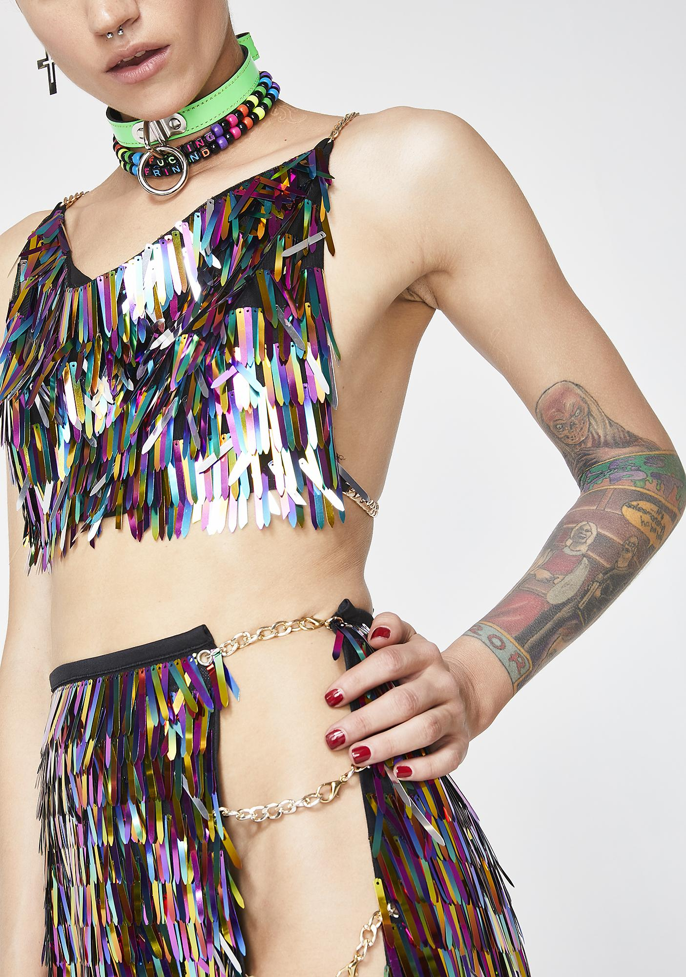 Jaded London Rainbow Sequin Spike Crop Top