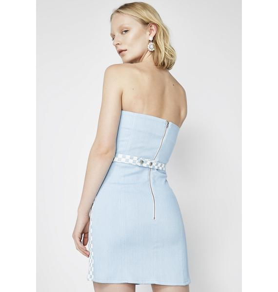 Hardware LDN Denim Checkered Belt Dress