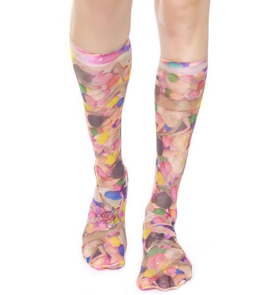 Coveted Society Dolls n' Gumballs Sheer Socks