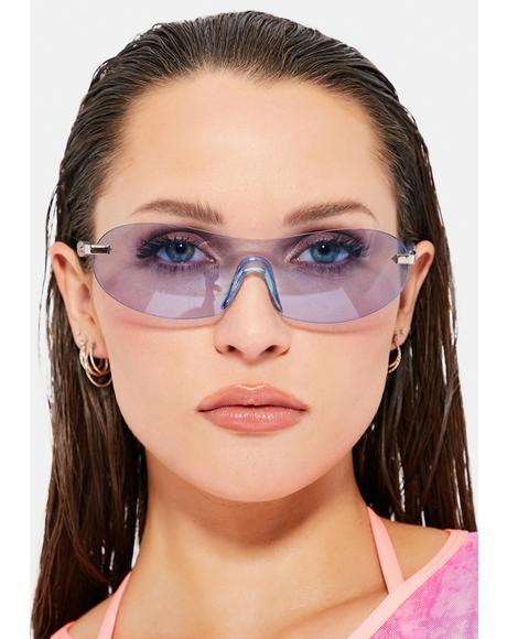 Blue Curve Color Shield Sunglasses
