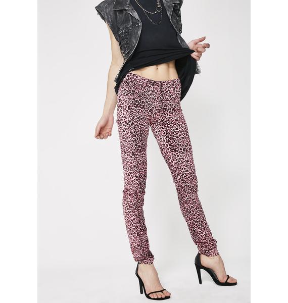 Tripp NYC Pink Cheetah T-Back Jeans