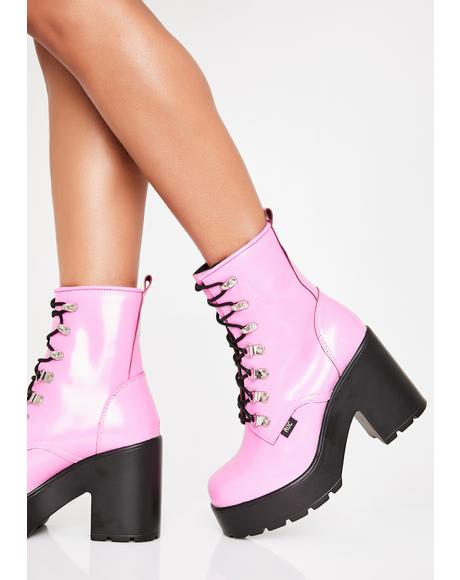Pink Mission Hi-Shine Combat Boots