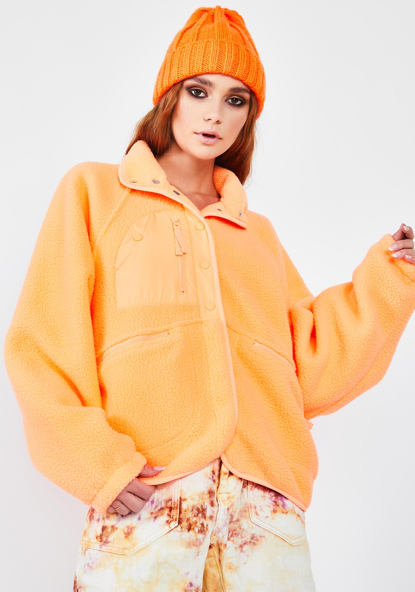 Free People Peach Hit The Slopes Fleece Jacket