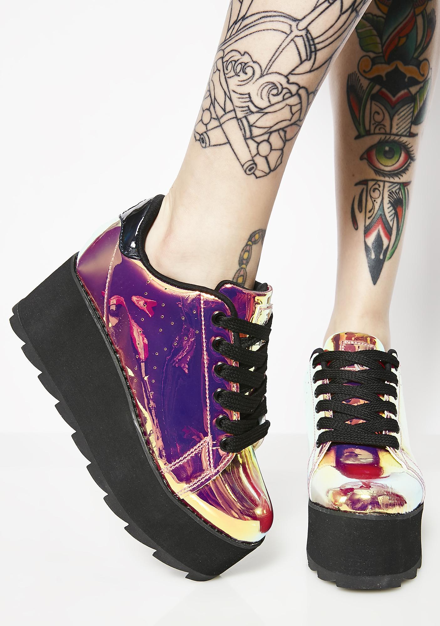 d14a0ad1df19 Y.R.U. Lala Pink Atlantis Platform Sneakers