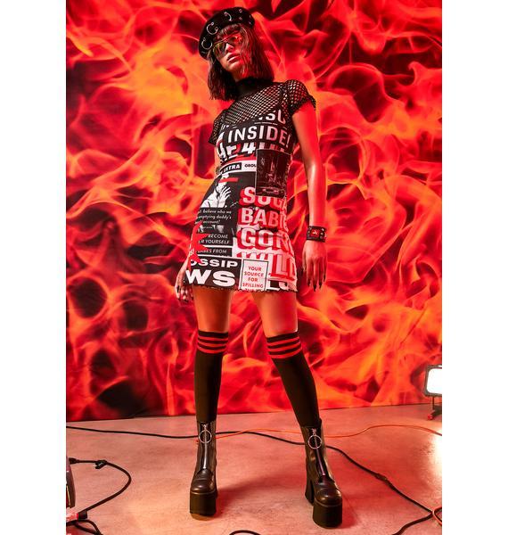 Current Mood Hit The Headlines Tank Dress