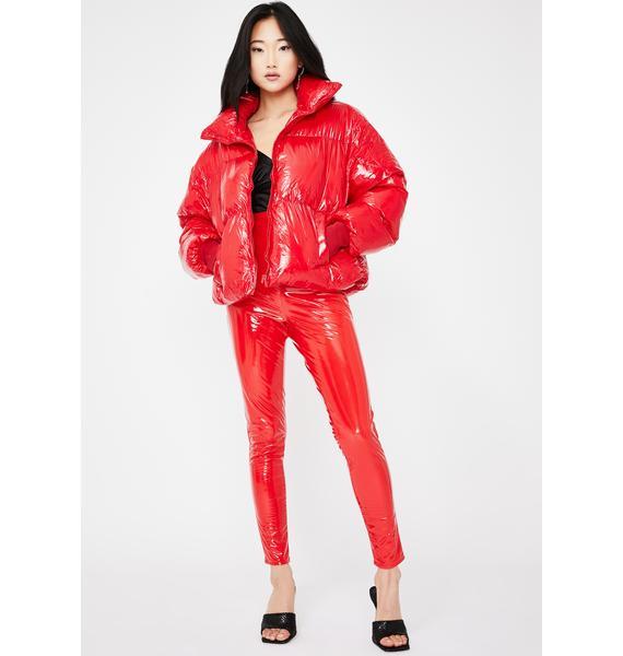 Public Desire Red Oversized Vinyl Puffer Coat