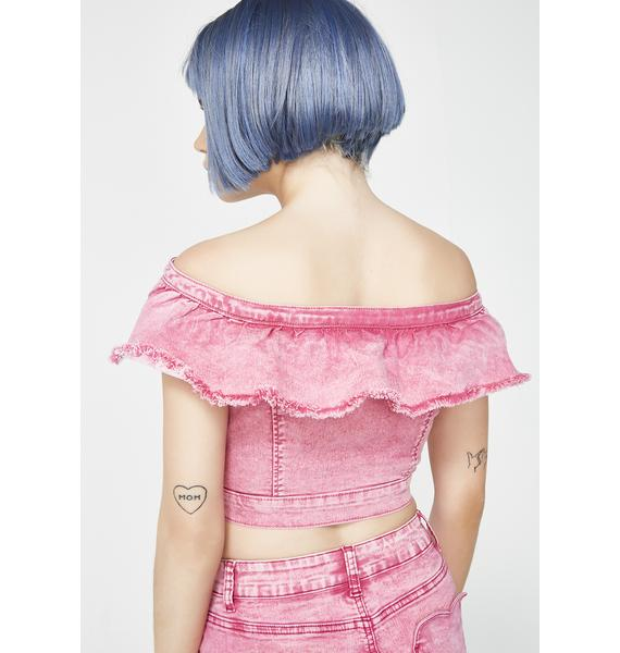 Lazy Oaf Pink Heart Denim Top