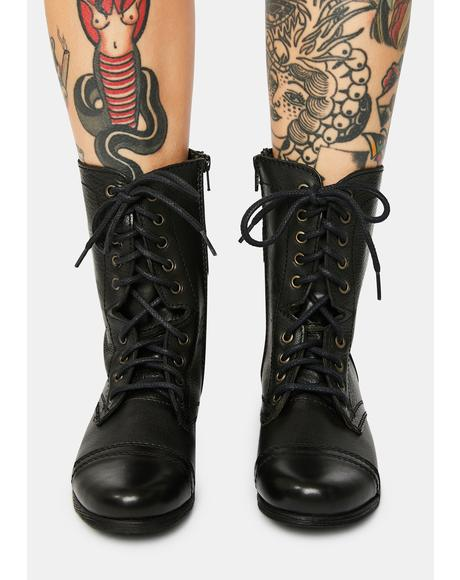 Troopa Black Leather Combat Boots